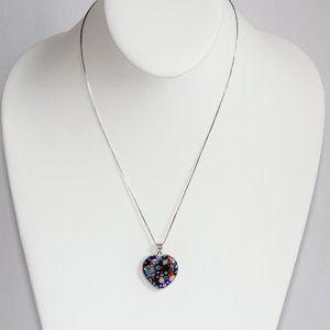 Jewelry - Sterling Silver Venetian Glass Heart Pendant